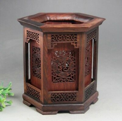 AllowChinese Hexagon Shape Rosewood Hollow Out Carved FU Character Brush Pot d02