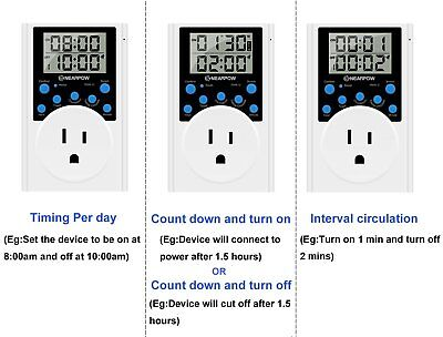 Programmable Plug-in Digital Timer Outlet  Multifunctional Infinite Cycle Switch