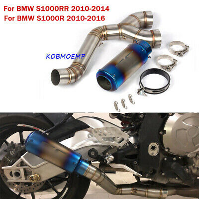 Full Exhaust System Tail Pipe Slip On Middle Mid Pipe For BMW S1000RR 2010-2016