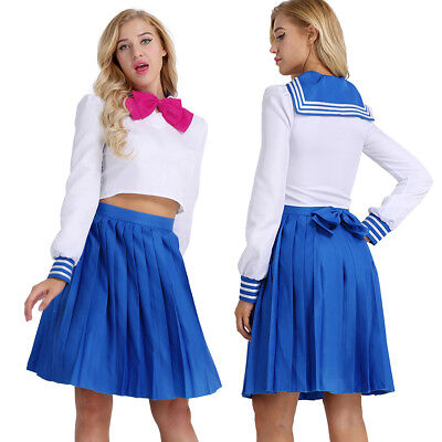 Women Girls Sailor Suit School Uniform Cosplay Costume Long Sleeve Outfit Dress
