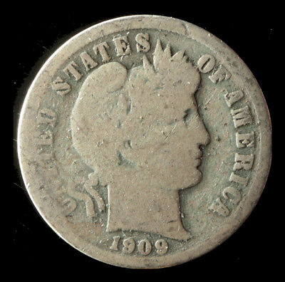 1909-P Barber 90% Silver Dime Ships Free. Buy 3 get xtra Silver Coin. NR
