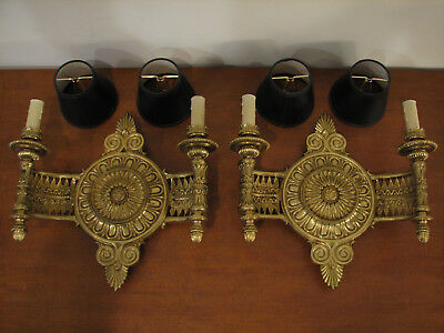 Vintage Pair of Early 1900's Solid Brass Antique Wall Sconces Federal Style