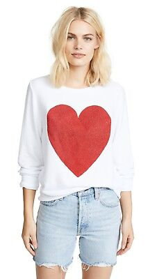 05b9e45dab New Wildfox Couture Red Sparkle Heart Baggy Beach Jumper White Pullover,  sz. l
