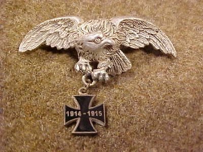 Original Wwi German Patriotic Eagle 1914-15 Iron Cross Pin