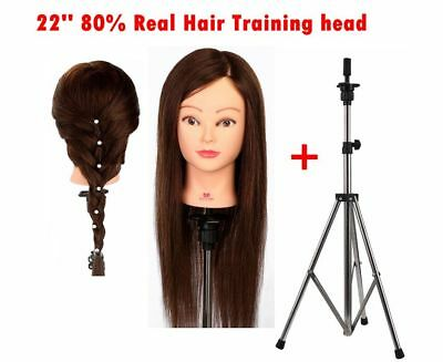 22'' 80% Real Hair Training Head Hairdressing Styling Mannequin + Clamp Tripod