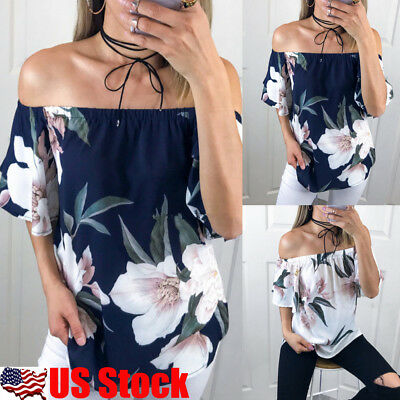 Womens Floral Backless Off Shoulder Loose Blouse Ladies Summer Short Sleeve Tops
