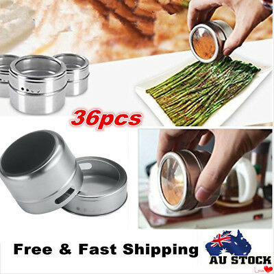 36 x Magnetic Spice Tins Stainless Steel Storage Container Jars with Clear Lid