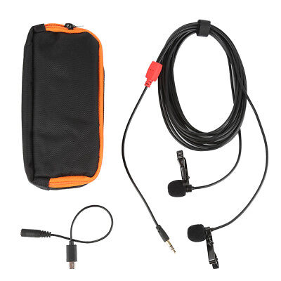NEW Clip-on Lapel Mini Dual-head Lavalier Mic Microphone ForSmartphone PC Camera