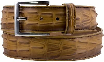 Buttercup Western Cowboy Leather Crocodile Alligator Tail Belt Rodeo Buckle