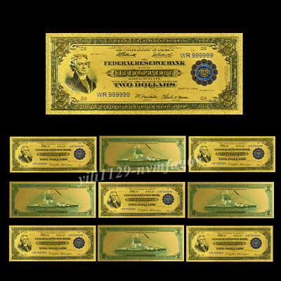 10PC US $2 Dollars 1928 Year Banknotes 24k Gold Foil Monye Collectible Art Gifts