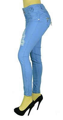 High Waist  Stretch Push-Up Colombian Style Skinny Jeans in Lt.. blue A287