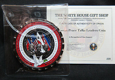 2018 Trump, Moon Jae-In & Kim Jong-Un Peace Summit Accord Commem. # 2 Coin W/COA