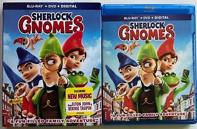 Sherlock Gnomes Blu Ray Dvd 2 Disc Set + Slipcover Sleeve Free World Shipping