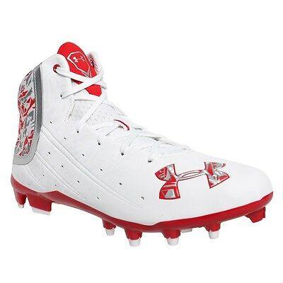 NEW Under Armour Men's Banshee Mid MC Lacrosse Cleats w/ socks White/Red Size 13