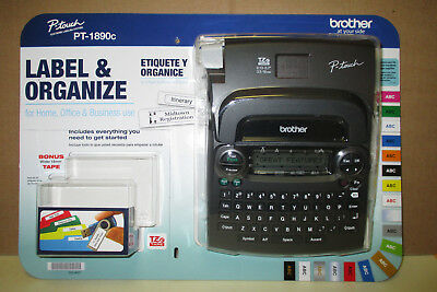 "NEW Brother P-touch PT-1890c Label Maker System with Bonus 6 ""AA"" Batteries"