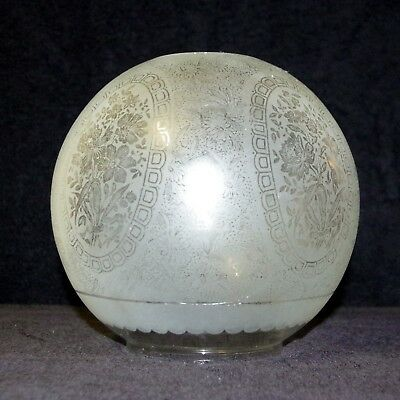 Clear Frosted And Etched 5 Cameo Kerosene Oil Lamp Globe Shade