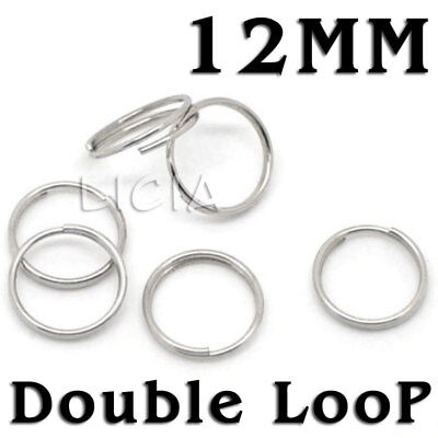 12mm Double Open Jump Rings Silver Round Split Ring Bracelet Necklace 1.2cm DIY