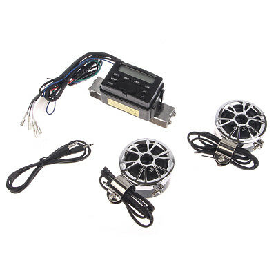 Motorcycle Audio FM Radio MP3 iPod Stereo Speakers Sound System P TK11 Silver