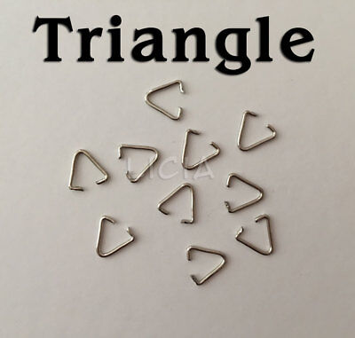 Triangle Open Jump Rings Silver Tone Split Key Ring Keychain Connector DIY