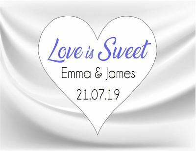 24 Personalised Heart Shaped Love Is Sweet Wedding Stickers/Labels 3 FOR 2 Seals