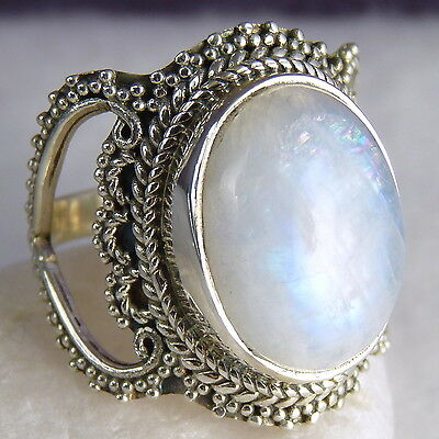 GRANULATED LACE Vintage Ring Size US 5.5 SILVERSARI 925 Stg Silver MOONSTONE