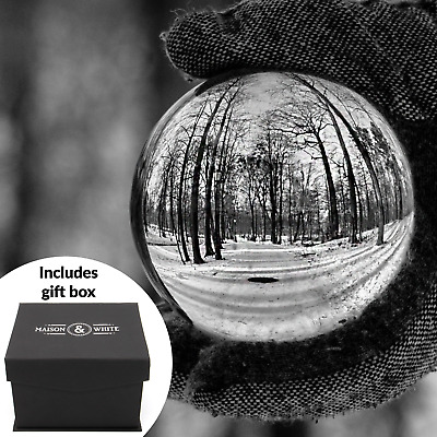 Clear Crystal Ball | 80mm K9 Glass Lens Sphere | Photography & Decoration | M&W