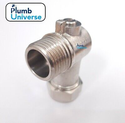 """15MM x 1/2"""" Male Chrome Angled Elbow Compression Isolating Valve Heavy Duty WRAS"""