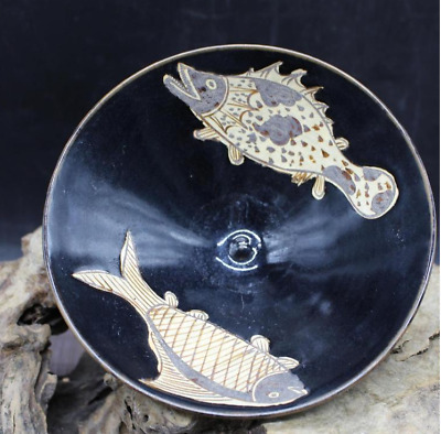 China old Song Dynasty black Hand Painted Fish pattern bowl