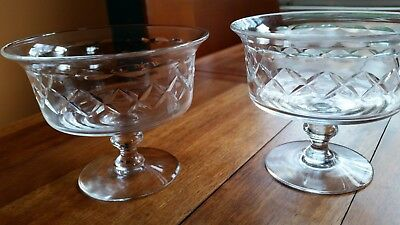 Two Vintage Stuart Crystal Compote Dishes Rd. 681649