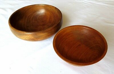 x2 PAIR VINTAGE HAND-TURNED SOLID WOODEN BOWLS SERVING NIBBLES