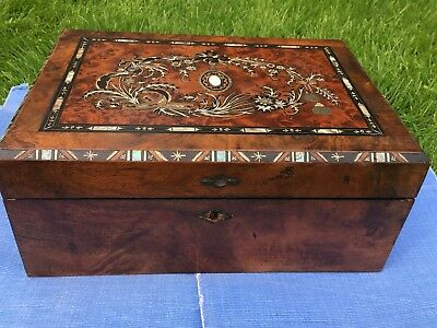 Victorian Writing Slope Box with Beautiful Mother of Pearl Inlaid Top