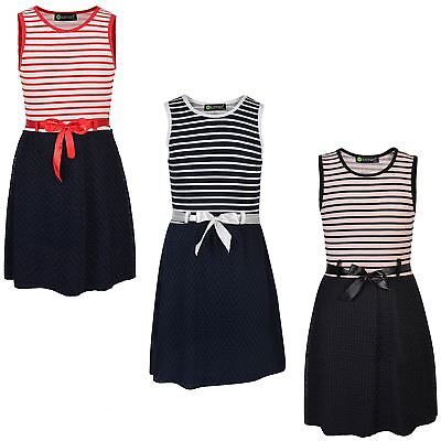 Girls Sleeveless Dress Contrast Textured Summer Casual Party Top Belted 3-14 Y