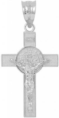 Saint Collection 925 Sterling Silver St. Benedict Crucifix Cross Charm Pendant