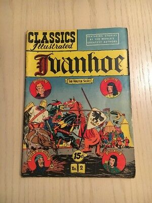 Classic Comics #2 Classics Illustrated Ivanhoe Walter Scott