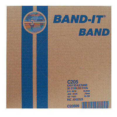 Stainless Steel Bands, 5/8 in X 100 Ft, 0.03 in Stainless Steel 201