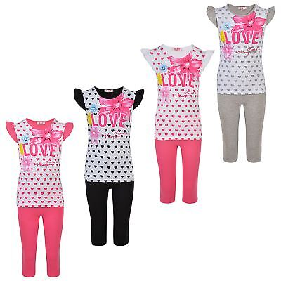 Girls T-shirt and Leggings 2 Piece Set Kids Top and Bottoms Outfit Casual 1-10 Y