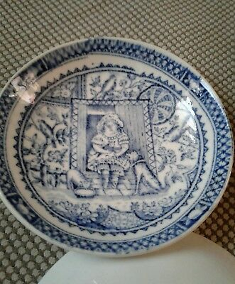 Antique Child's Plate or bowl Aesthetic Little May Transferware C.A. & Sons dog