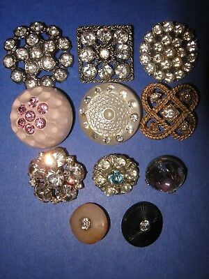 Antique/vintage Lot Of 11 Rhinestone Buttons- Beautiful