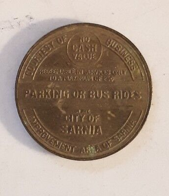 """Vintage (Sarnia) """"good For Parking Or Bus Rides In City Of Sarnia"""" Brass Token"""