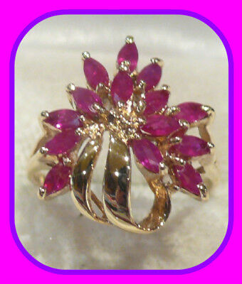 Large Heavy 3.59G Solid 9Ct Gold Genuine Marquise Ruby English Ring Uk Hm~Sz O½