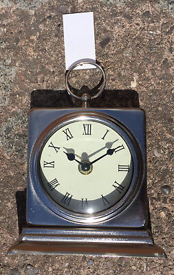 Vintage Traditional Free Standing Square Clock In Silver Metal Desk Mantel New