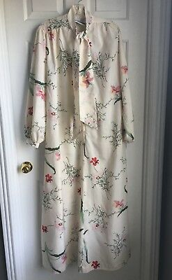 Vintage Christian Dior Floral Print Kaftan Caftan Lounge Wear Womens Medium