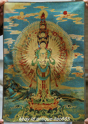 Tibet Tibetan Cloth Silk 1000 Arms Avalokiteshvara Tangka Thangka Painting Mural