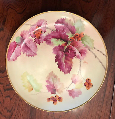 Ginori 19th-century hand-painted plate with gold rim, artist signed