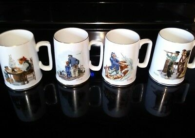 Norman Rockwell Mug Lot (EUC) 4 Pieces