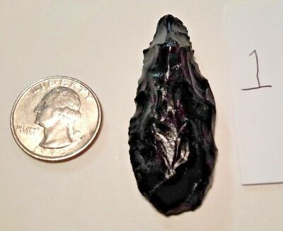 Real Authentic Arrowhead Knife BLACK OBSIDIAN Clear Lake California, Pomo Tribe