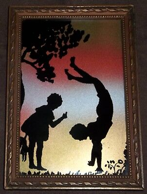 Vintage Art Deco 'Rainbow Silhouette' Picture Two Children Playing