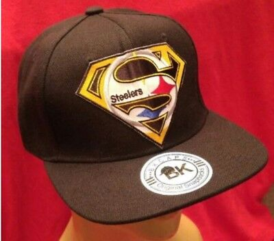 d5d7e505525 Pittsburgh Steelers Solid Black Baseball Cap Flat Bill Snapback Hat NFL  Football