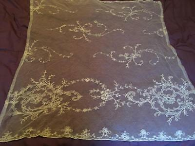 Exquisite Rare Antique Tambour Lace Tulle Curtain Panel - A Must See!