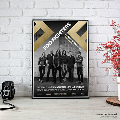 Foo Fighters, UK Tour 2018 Manchester London, Fine Art Poster High Quality